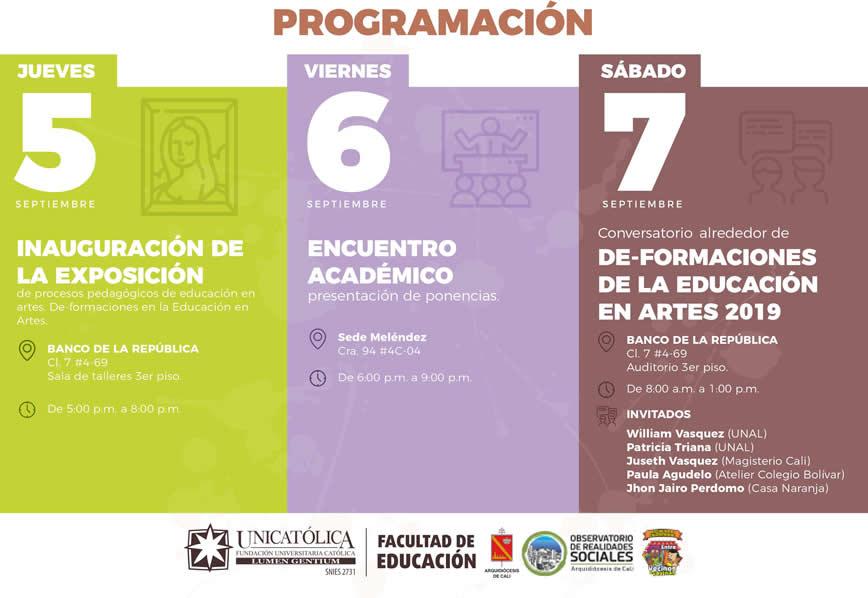 Programación Encuentro De-Formaciones de la Educación en Artes